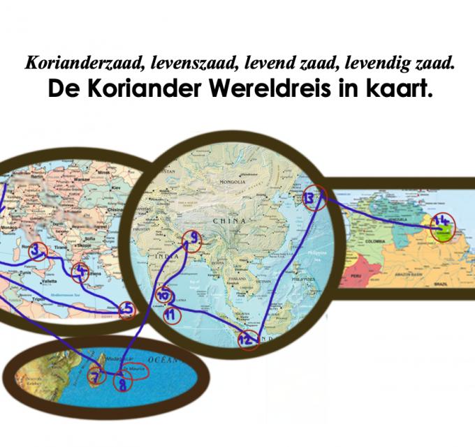 wereldreis Koriander kaart wereld